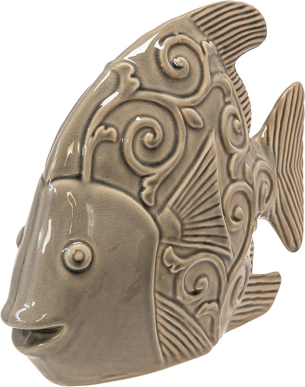 "Sagebrook Home 14035-01 Ceramic Fish Decor 12.25"", Gray Green, L x 4.5''W x 10.75''H, Grey"