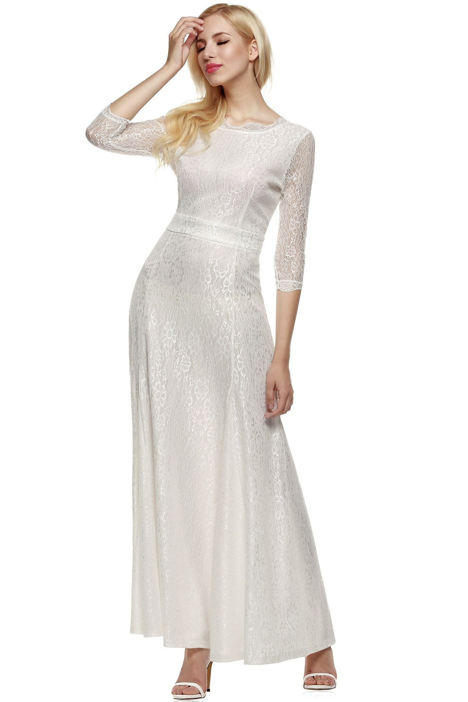 ANGVNS Women Lace 2/3 Sleeve Bridesmaid Homecoming Gown Dress, Size XX-Large, White