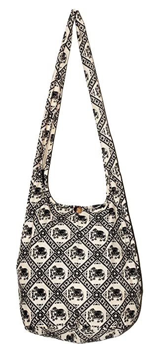 Amazon.com  Beige Elephant Bohemian Hippie Boho Shoulder Cross Body ... 07bfd4b3dc9d0