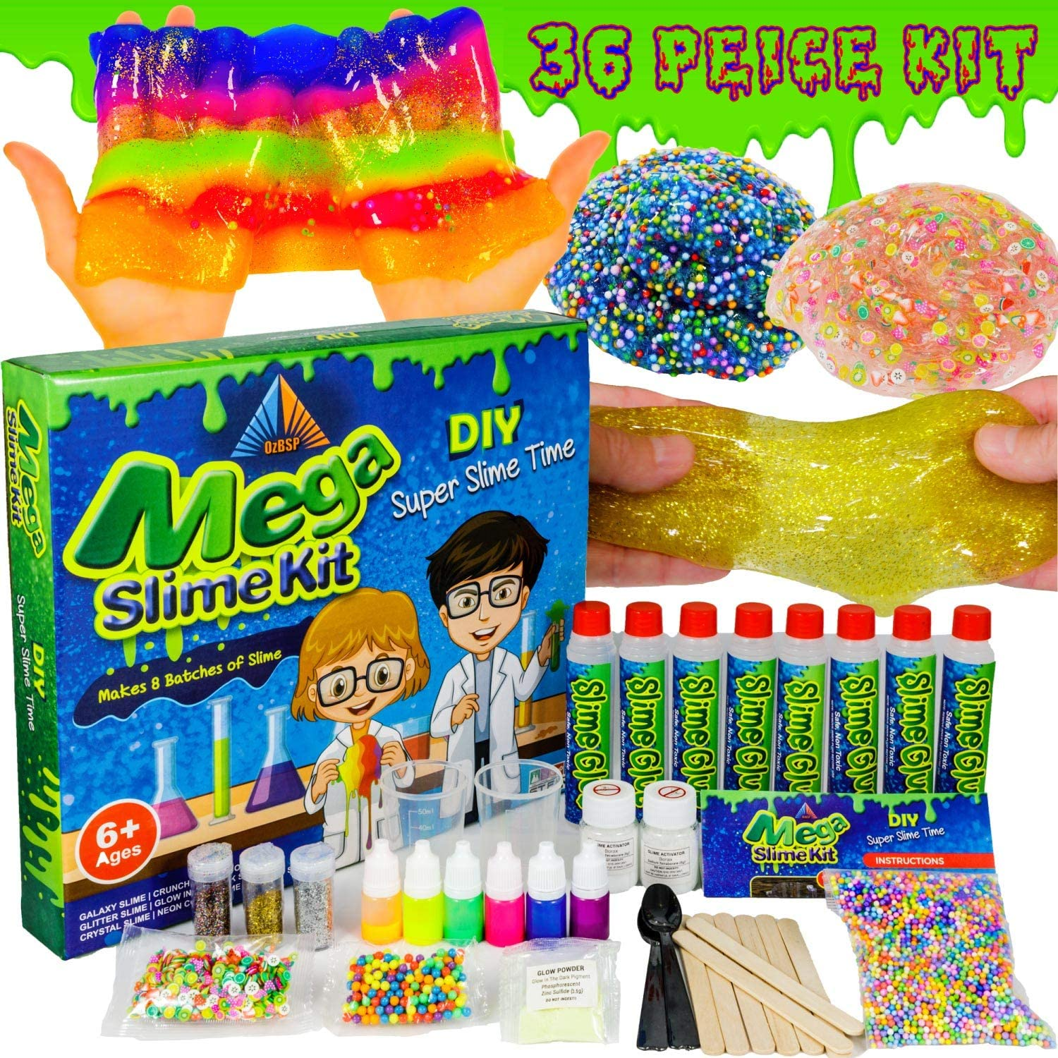 OzBSP Mega Slime Kit. Slime Making Kit for Boys Girls Kids. DIY Slime Kit with Everything to Make 8 Batches of Slime. Clear Glue Glitter Foam Beads Charms Activator Neon Colors. Slime Supplies Kits