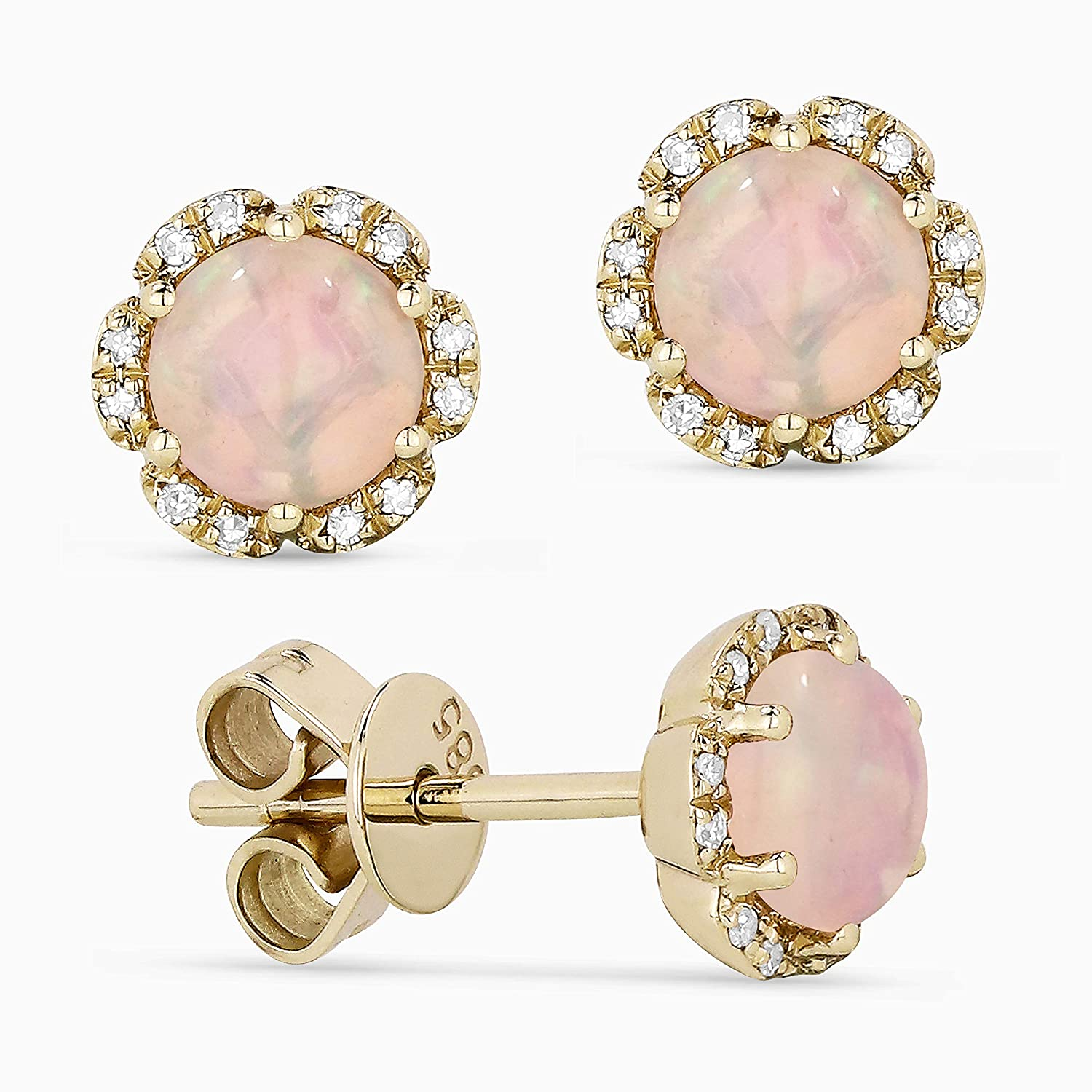 14K Gold Round Brilliant Shape Gemstone and White Diamond Stud Earrings