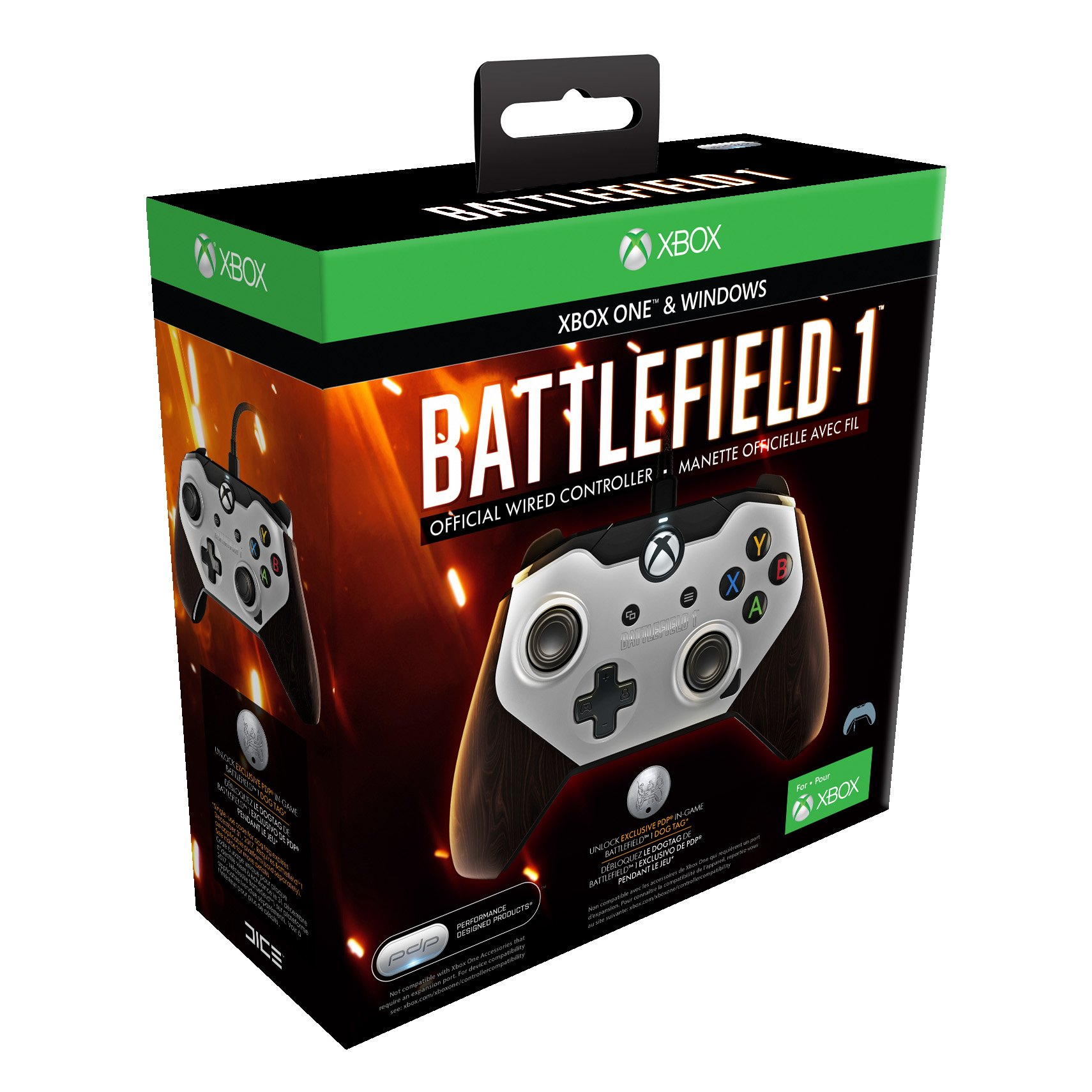 pdp battlefield 1 official wired controller for xbox one. Black Bedroom Furniture Sets. Home Design Ideas