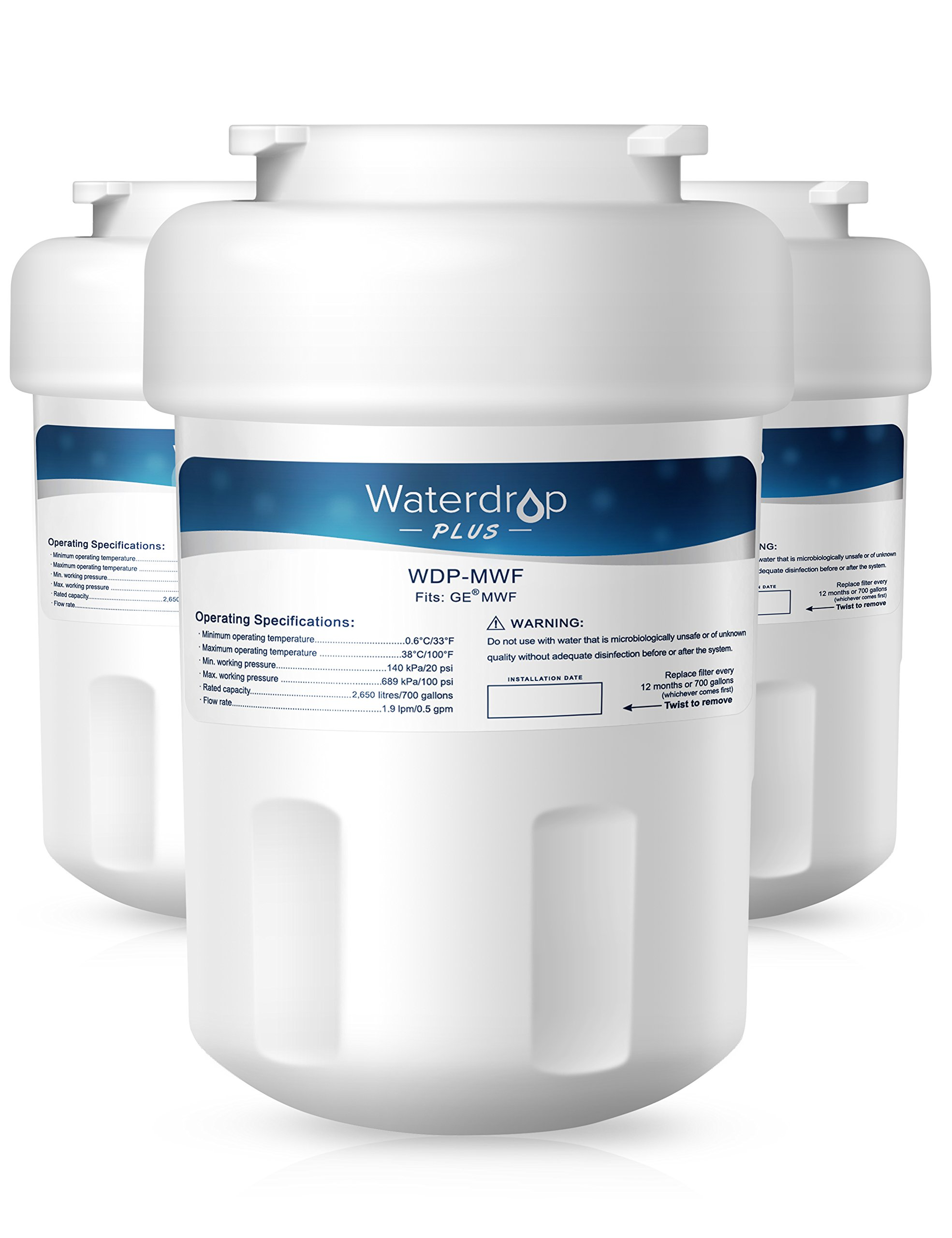 Waterdrop Plus MWF Double Lifetime Replacement Refrigerator Water Filter, Compatible with GE MWF, MWFP, MWFA, GWF, GWFA, SmartWater, Kenmore 9991, 46-9991, 469991 (3 Pack)