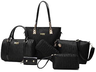 Amazon.com: Womens 6 Pcs Lightweight Tote Work Bag Handbag and ...