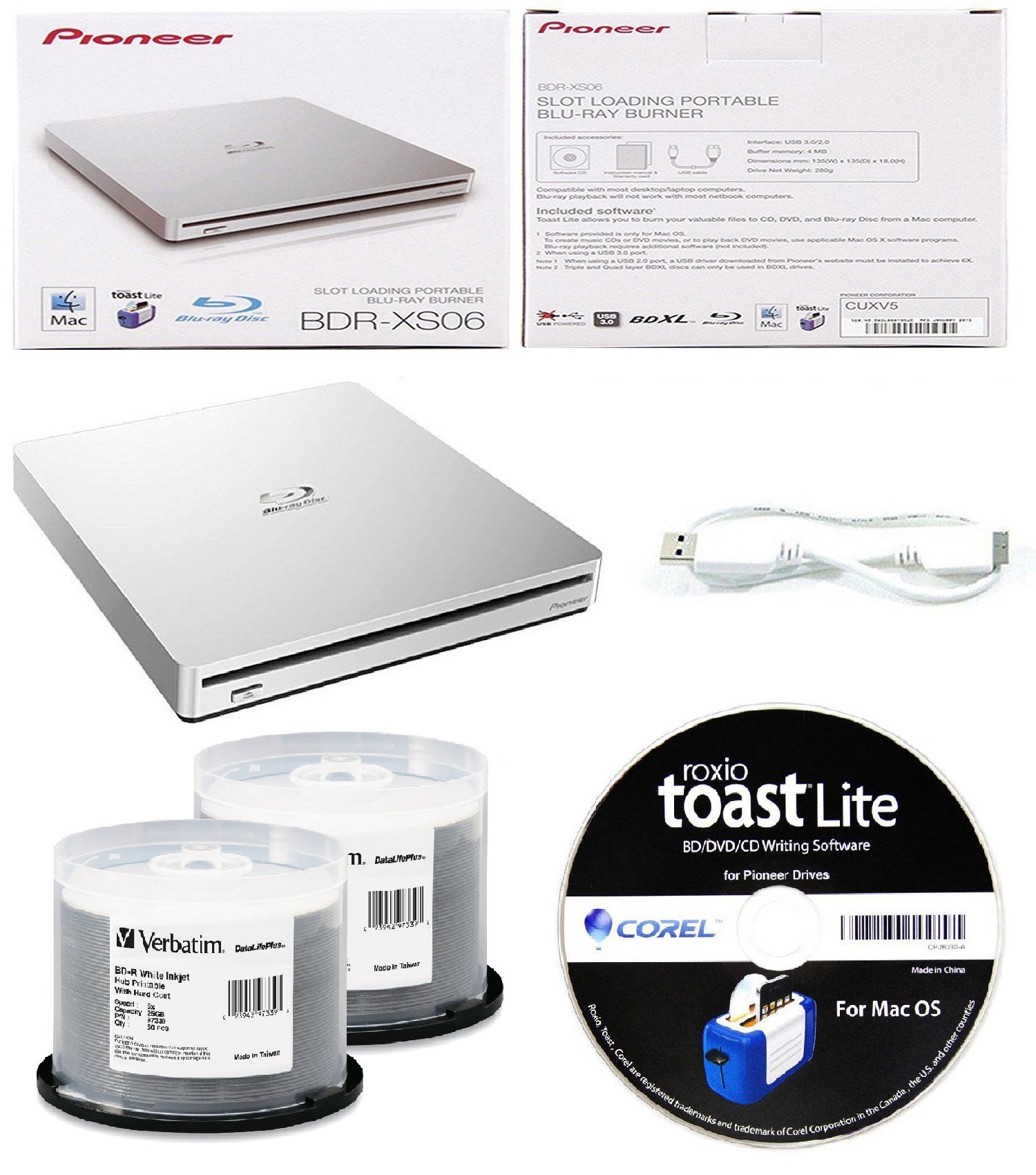 Pioneer 6x BDR-XS06 Slim Slot Portable External Blu-ray BDXL Burner, Roxio Toast Lite Software and USB Cable Bundle with 100pk BD-R Verbatim 25GB 6X DataLifePlus White Inkjet, Hub Printable