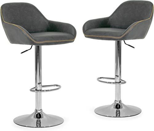 Glamour Home Set of 2 Alan Adjustable Height Swivel Barstool in Vintage Grey Color Faux Leather with Contrasting Stitching
