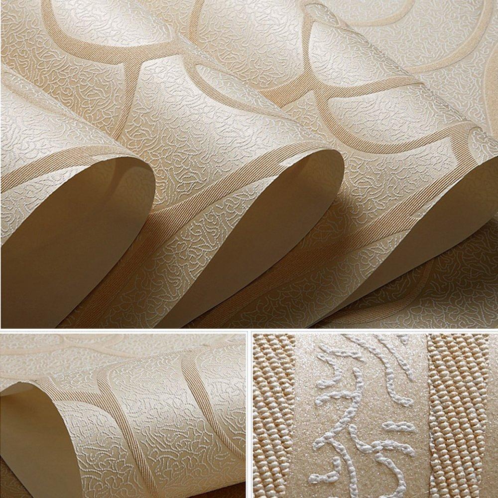 Ltd QH11041 QIHANG Modern Minimalist Embossed 3D Rose Flower Non-woven Wallpaper Beige Color 0.53m10m=5.3㎡ ShangHai DaWei E-Commerce Co