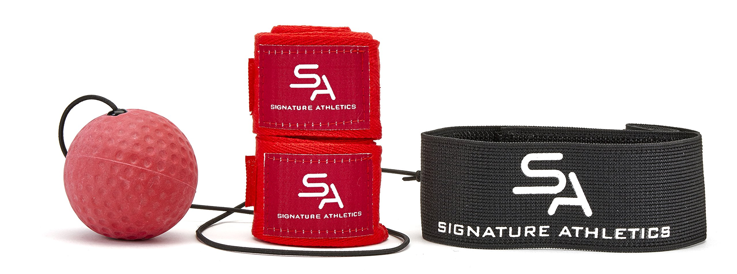 Pro Boxing Reflex Ball with Headband | By Signature Athletics | With Boxing Hand Wrap Set