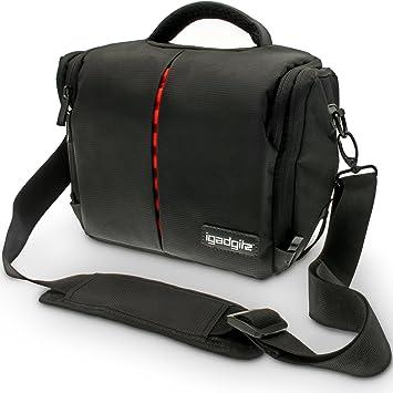 igadgitz U4117 - Bandolera estuche para cámara fotográfica, Nylon, Resistente Al Agua, Correa para el hombro y cintura, para Nikon, Negro
