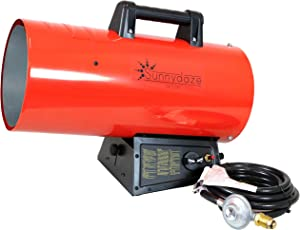 Sunnydaze 125,000 BTU Forced Air Propane Heater - Portable Heat for Construction Sites - Auto-Shutoff for Overheating Protection - Adjustable Heating Output - Piezo Ignition - Red and Black