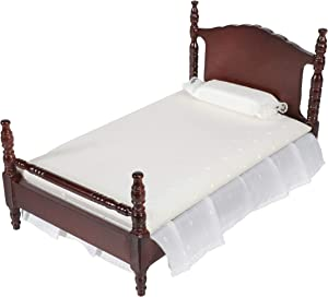 Inusitus Miniature Dollhouse Bed - Dolls House Furniture Queen Bed - 1/12 Scale (Dark-White-Fabric)