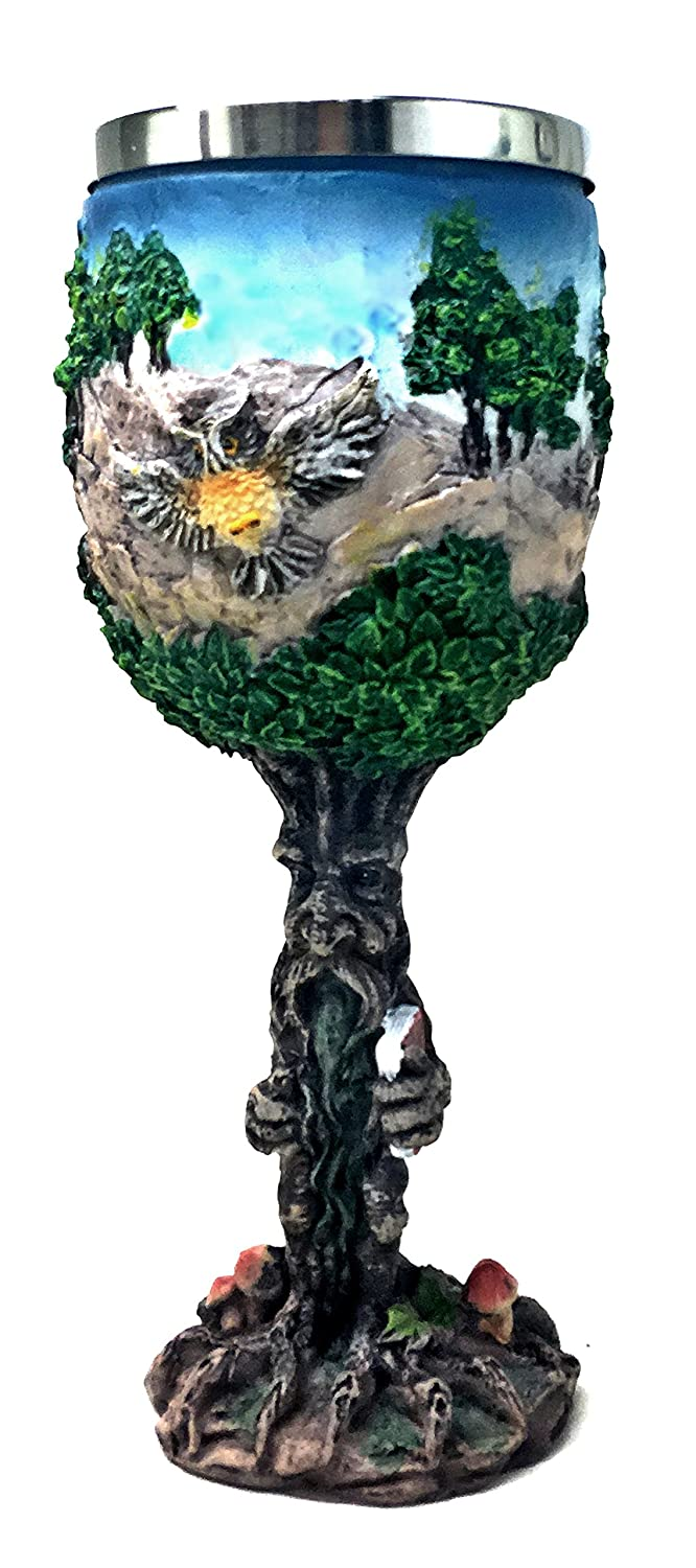 Cool Celtic Green Man Wine Goblet Pagan Wicca contemporary-wine-glasses - Tree man Goblet Wine Chalice Resin Body Stainless Steel Bellaa 811641022487