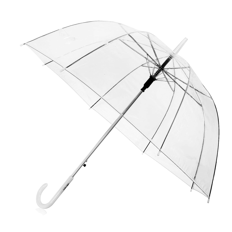 Parapluie transparent, compact léger Facile à transporter, parapluie automatique, parapluie avec bouton automatique, long parapluie, PVC imperméable à l'eau PVC imperméable à l' eau