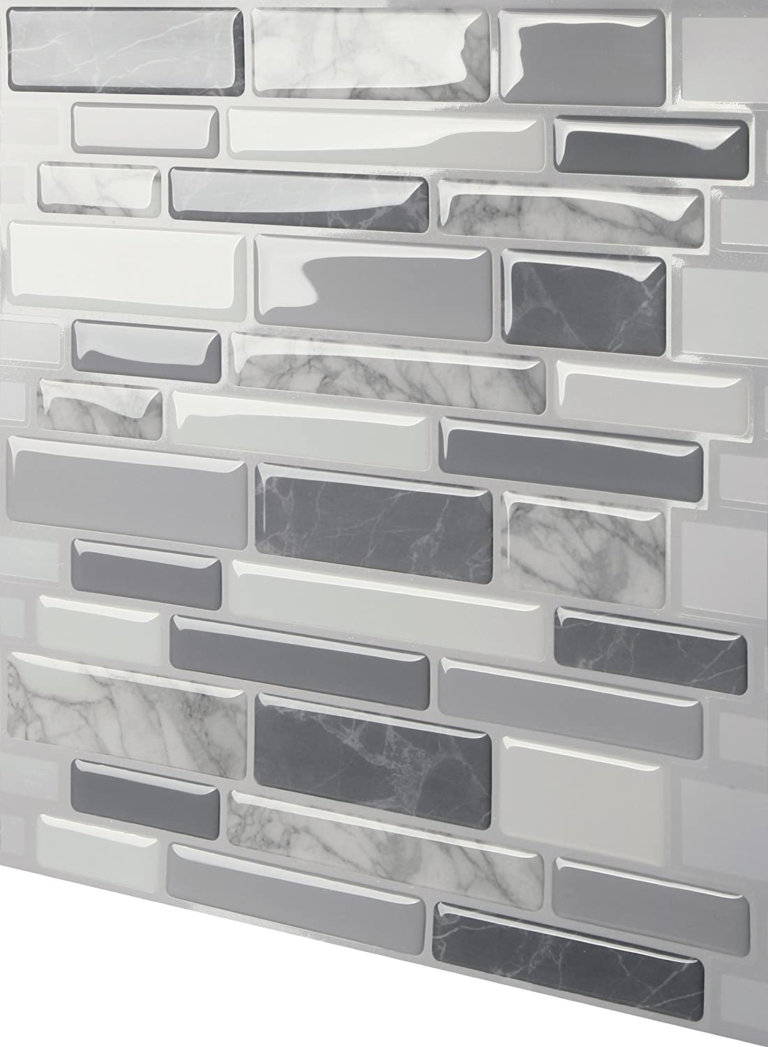 5 Tiles Tic Tac Tiles Premium Anti-Mold Peel and Stick Wall Tile in Polito Gray