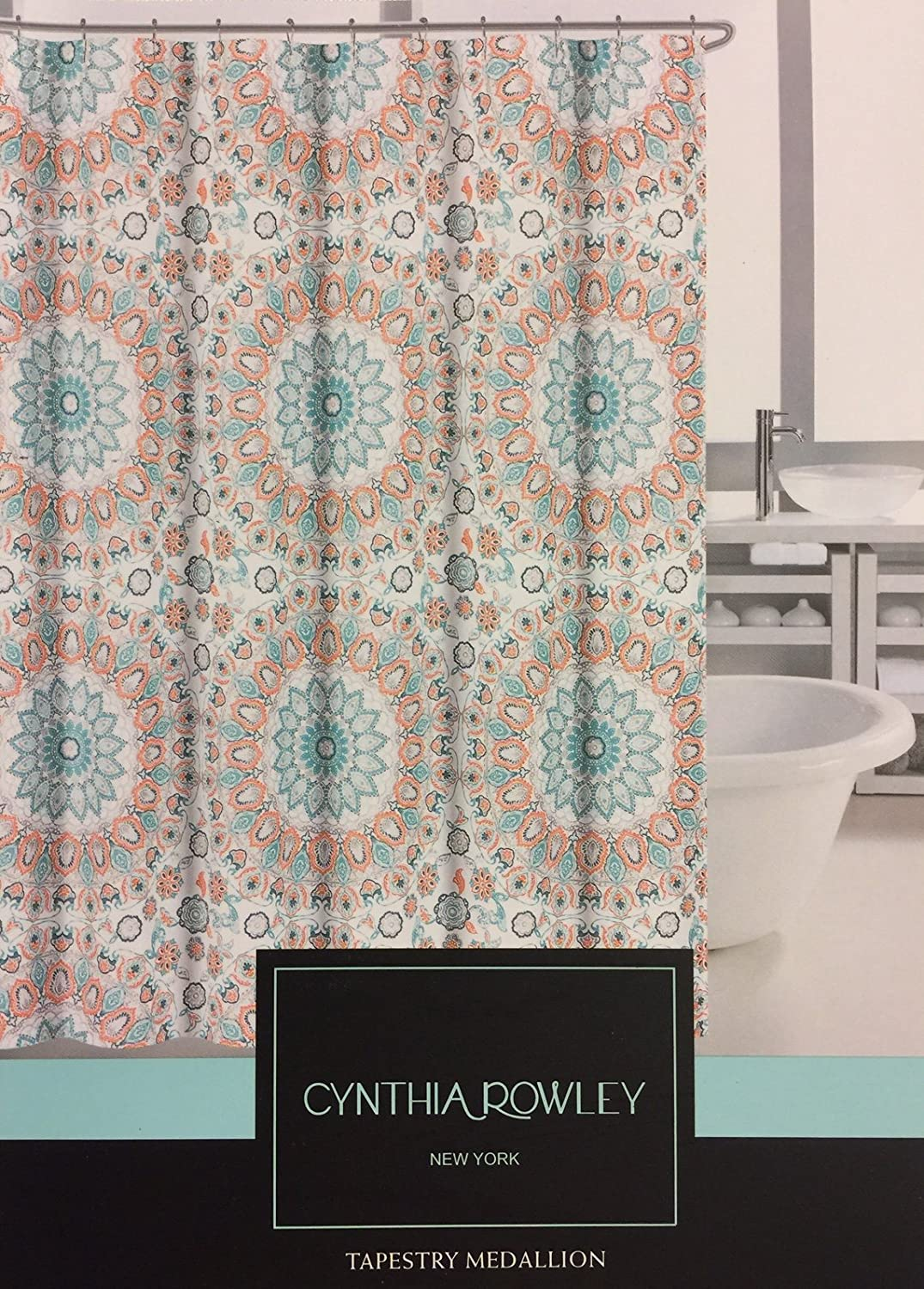 Amazoncom Cynthia Rowley Teal Turquoise And Tangerine Tapestry - Mint green shower curtain