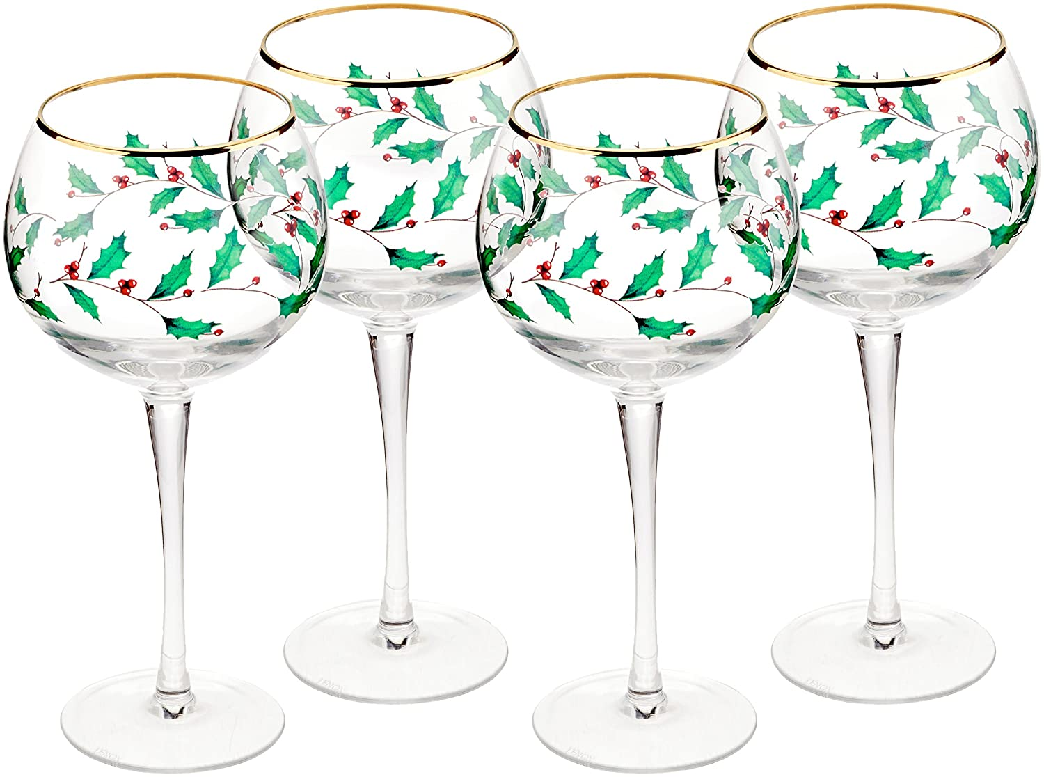 Christmas Tablescape Décor - Lenox Holiday holly design gold rimmed balloon wine stemware - Set of 4