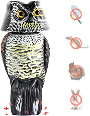 Ohuhu Horned Owl Decoy, Natural Enemy Pest Deterrent Scarecrow, Pest Control Repellents for Keep Birds,Mouses, Rodents Away