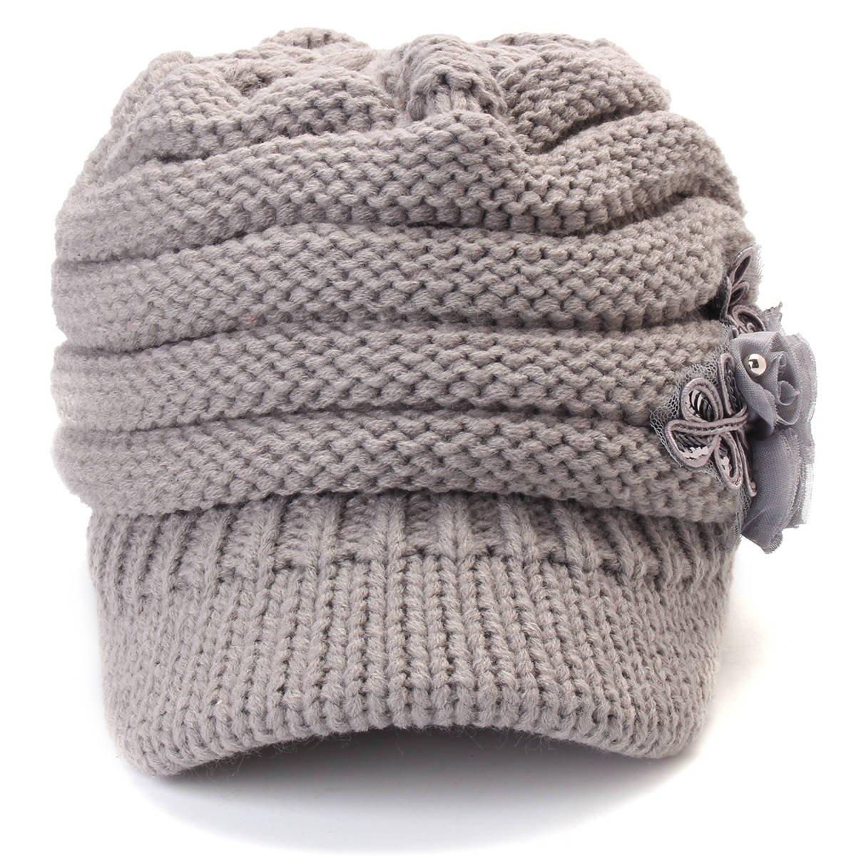 Lid Knitted Hat Cycling - Women Winter Warm Woolen Yarn Flower Hat Outdoor Windproof Elastic Hat - 1PCs
