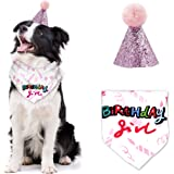 BANMODER Dog Birthday Bandana with Cute Doggie 1st Birthday Hat Party Supplies for Girl Boy
