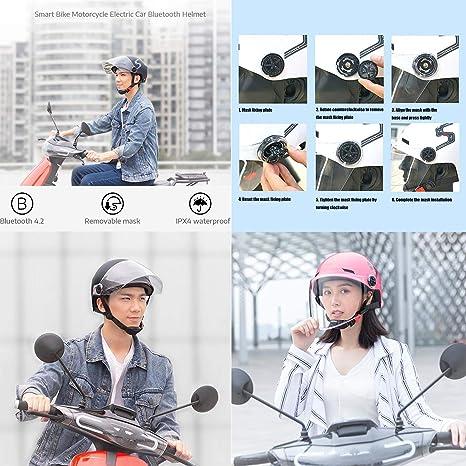Casque de v/élo ZWRY Casque de v/élo Intelligent /étanche Masque Amovible Bluetooth Haut-Parleur Charge USB