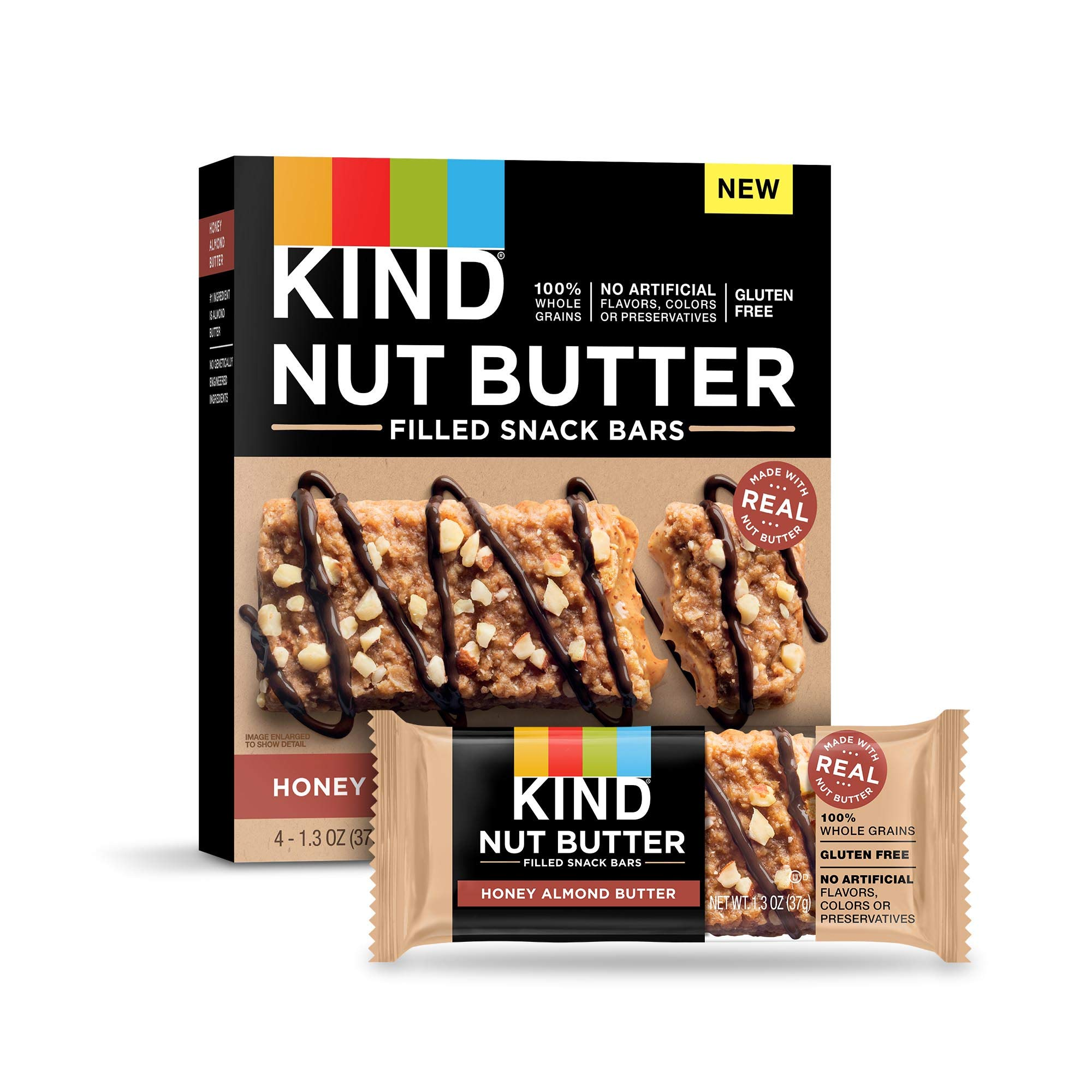KIND Nut Butter Filled Bars, Honey Almond Butter, 32 Count by KIND