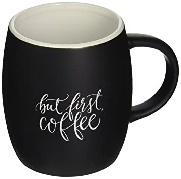 Printable Wisdom But First Coffee, Matte Black Mug