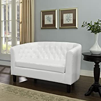 Amazing Modway Prospect Upholstered Contemporary Modern Loveseat In White Faux Leather Caraccident5 Cool Chair Designs And Ideas Caraccident5Info