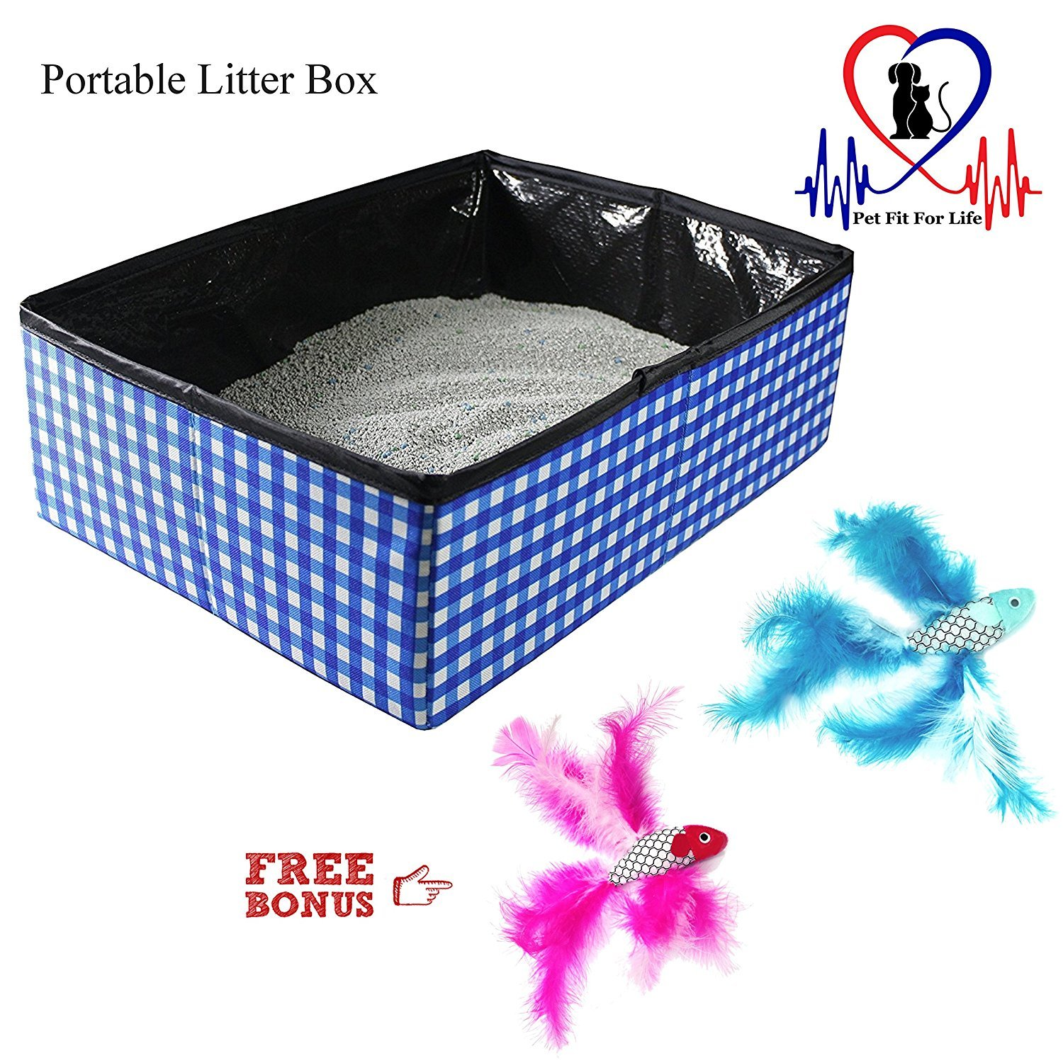 Pet Fit for Life Collapsible Portable Litter Box and Bonus Pet Fit for Life Collapsible Water Bowl