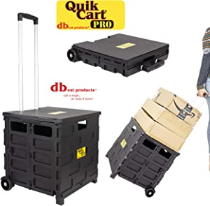 dbest products Quik Cart Pro Wheeled Rolling Crate Teacher Utility with seat Heavy Duty Collapsible Basket with Handle, Black