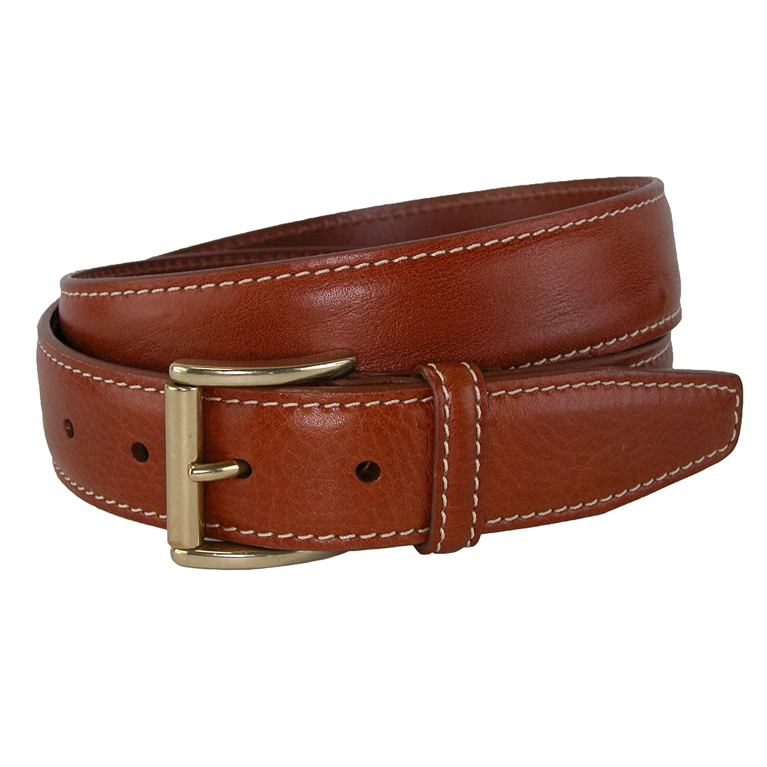 2e857a2c47a7 CrookhornDavis Men s Mignon Garrison Grain Calfskin Feather Edge Belt at  Amazon Men s Clothing store