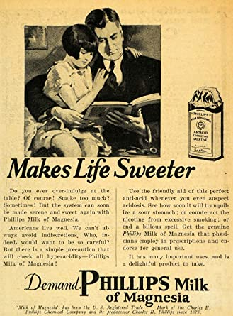 1929 Ad Phillips Milk of Magnesia Father Daughter Read - Original Print Ad