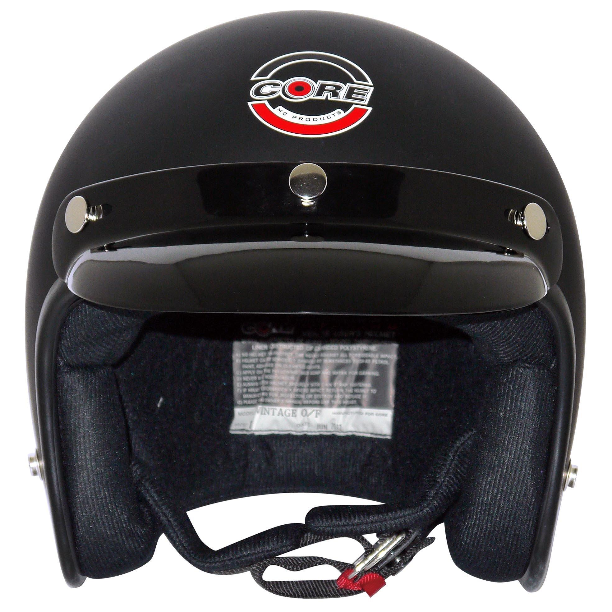 Core Vintage Open Face Helmet (Flat Black, X-Large) by Core (Image #2)