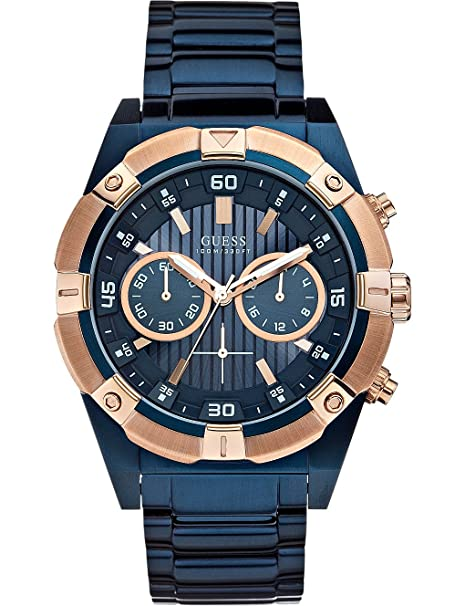 GUESS Blue Dial Analogue Watch for Men (W0377G4) Men at amazon