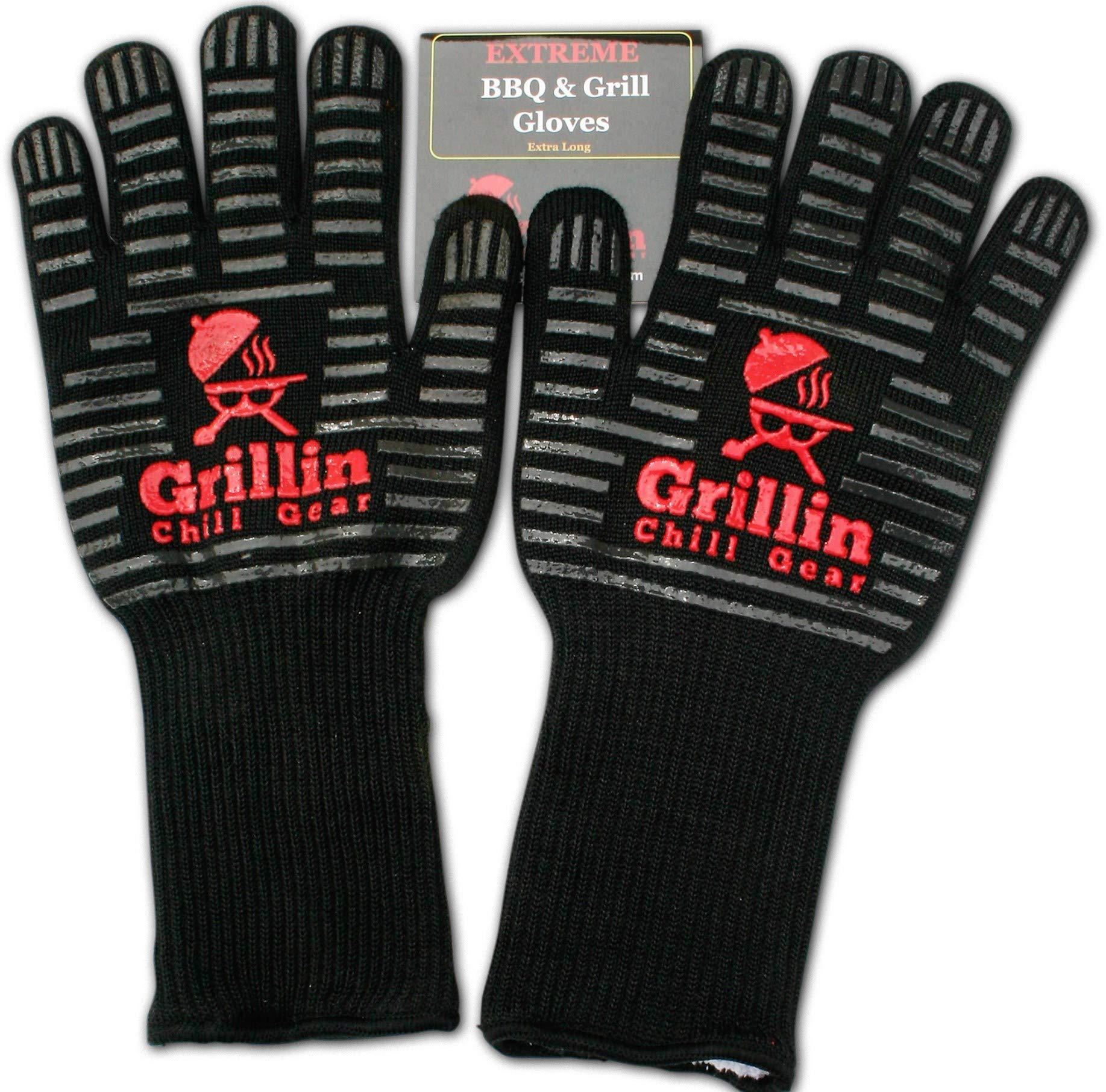BBQ Grilling Gloves by Grill n Chill - 932°F Extreme Heat Resistant Grill Gloves for Cooking, Oven, Barbecue - Longest (15'') for Best Fire Protection
