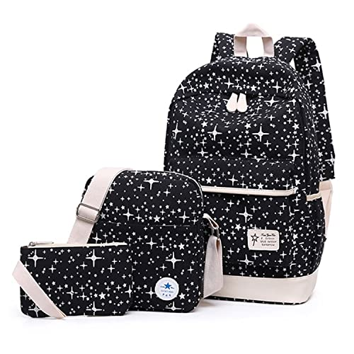 NEW Fashion Star Women Canvas Backpack Schoolbags School For Girl Teenagers  Casual Travel Bags Rucksack Cute f617d1b15a4e8