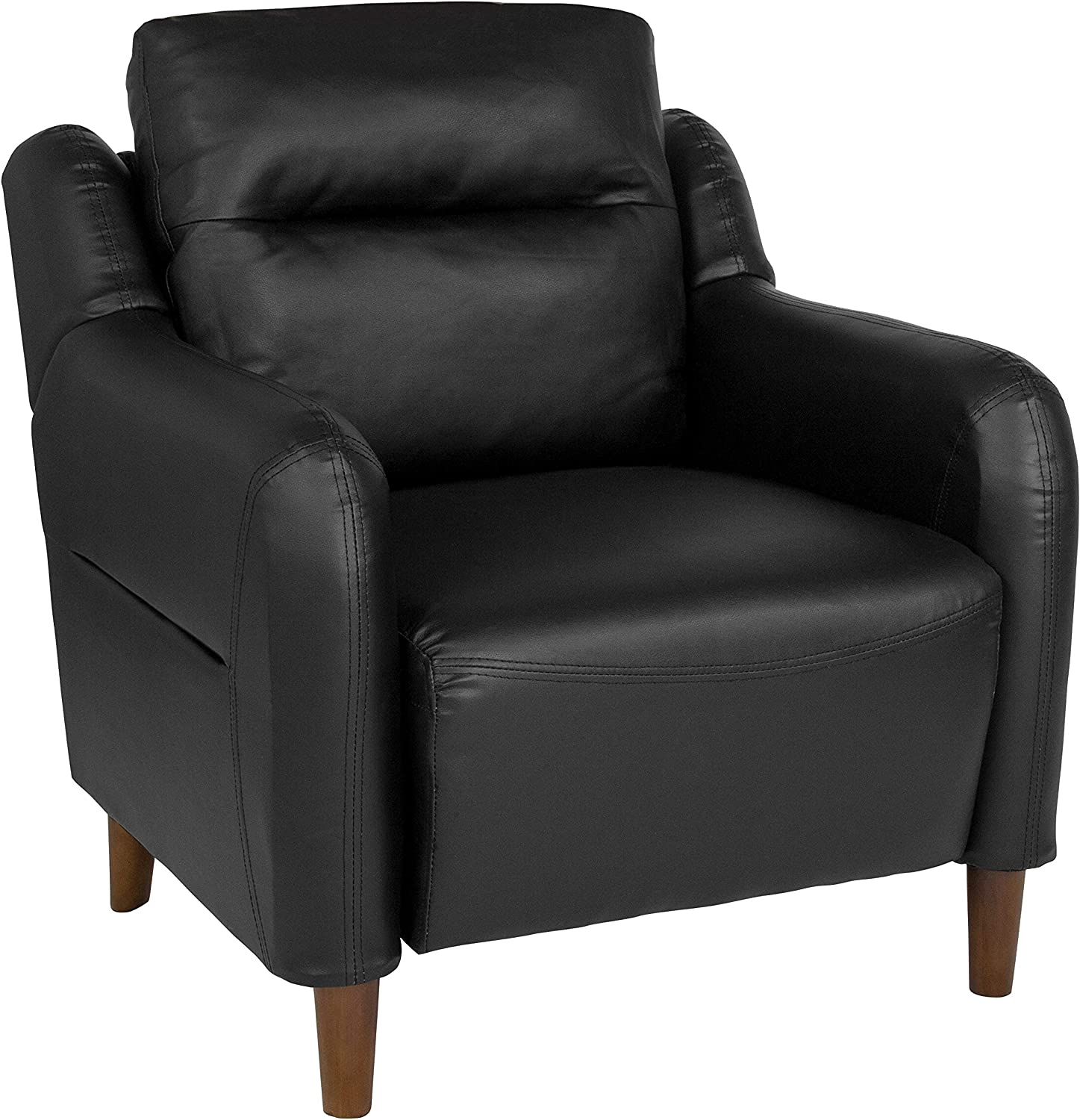 Flash Furniture Newton Hill Upholstered Bustle Back Arm Chair in Black LeatherSoft
