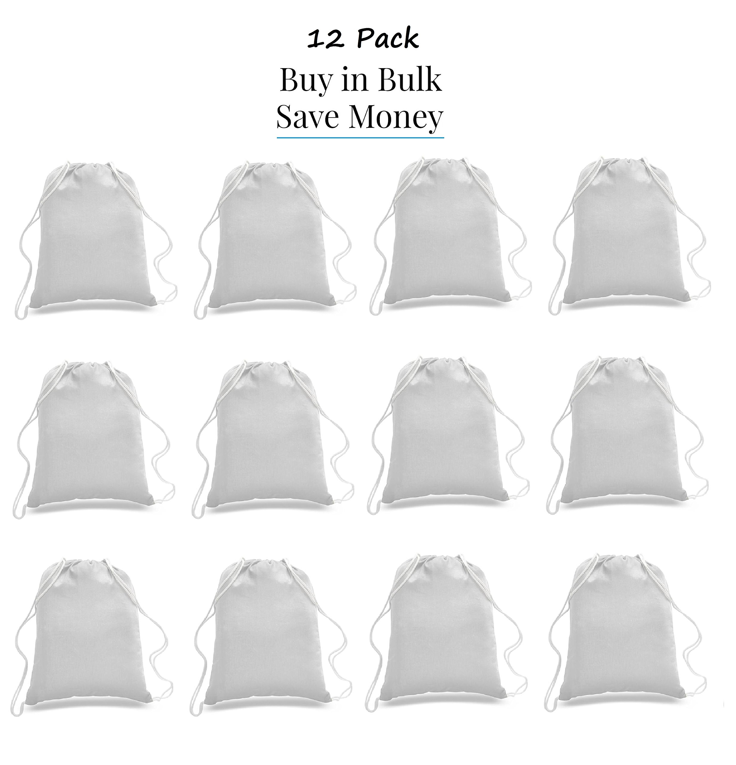 Great Deal! ( 12 Pack ) 1 DOZEN Budget Friendly Sport Drawstring Backpack %100 Cotton Bags for Sport,Gym or Promotional Plain Backpacks (WHITE)