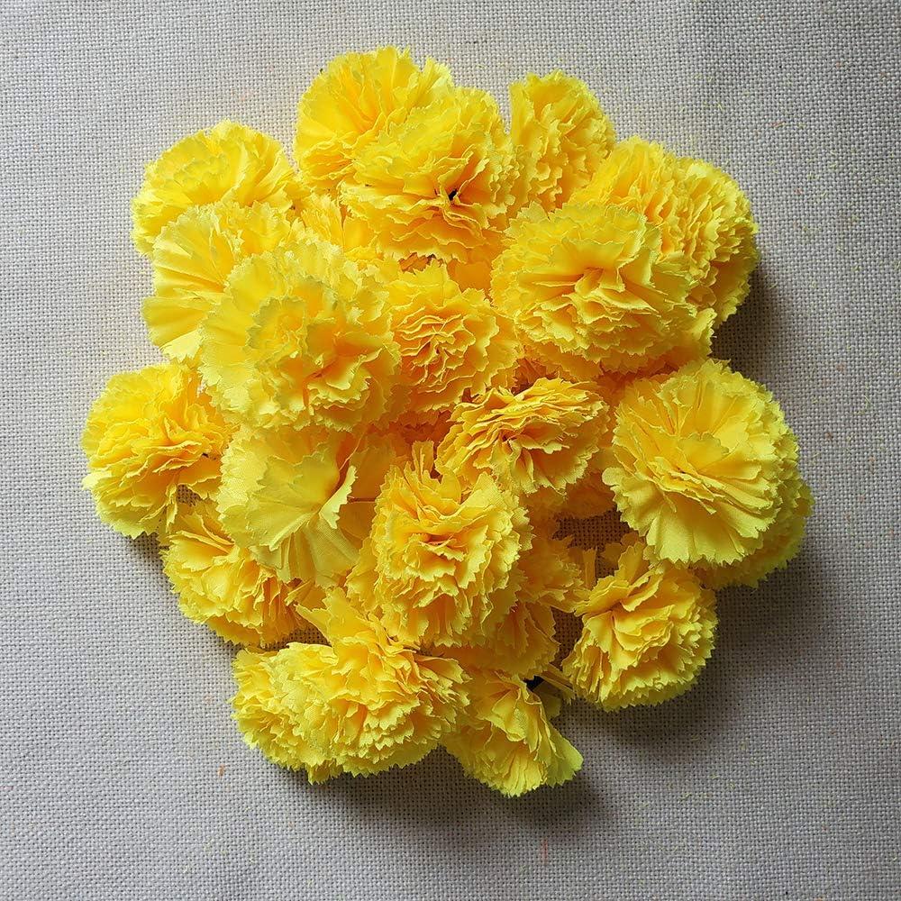 TRvancat Marigold Flower Heads Bulk 30Pcs Orange Silk Artificial Flowers for DIY Wedding Party Deor 5cm