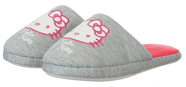 Damen Hausschuh Pantoffel Pantolette Hello Kitty GrauRot