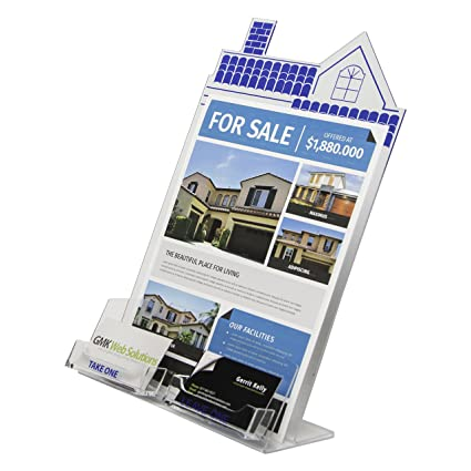 Clear Ad Hse 8511 C2 Clear Acrylic House Shaped Flyer Dual Business Card Holder 85x11 Wholesale Pack Of 12