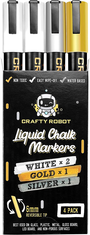 Liquid Chalk Marker Pen, Metallic Wet Erase Marker, Chalk Markers (White, Gold & Silver) for Chalkboard Signs, Windows, Blackboard, Glass, 6mm Reversible Tip (4 pack), 24 Chalkboard Labels Included