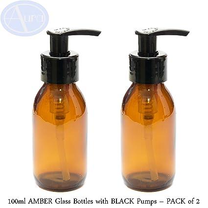 Botellas de cristal ámbar de 100 ml con bombas negras – Paquete de 2