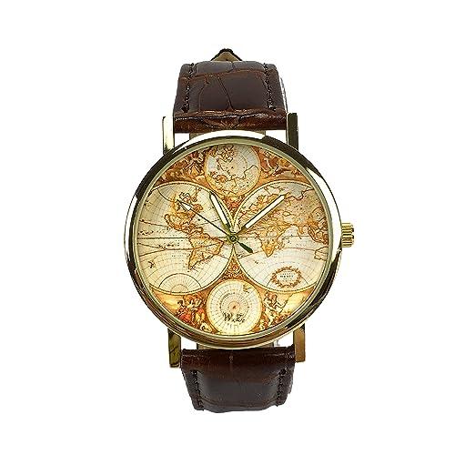 "Woodstock Zambon Reloj de cuarzo unisex ""Mundo Vintage Old School"" mapa globo tierra"