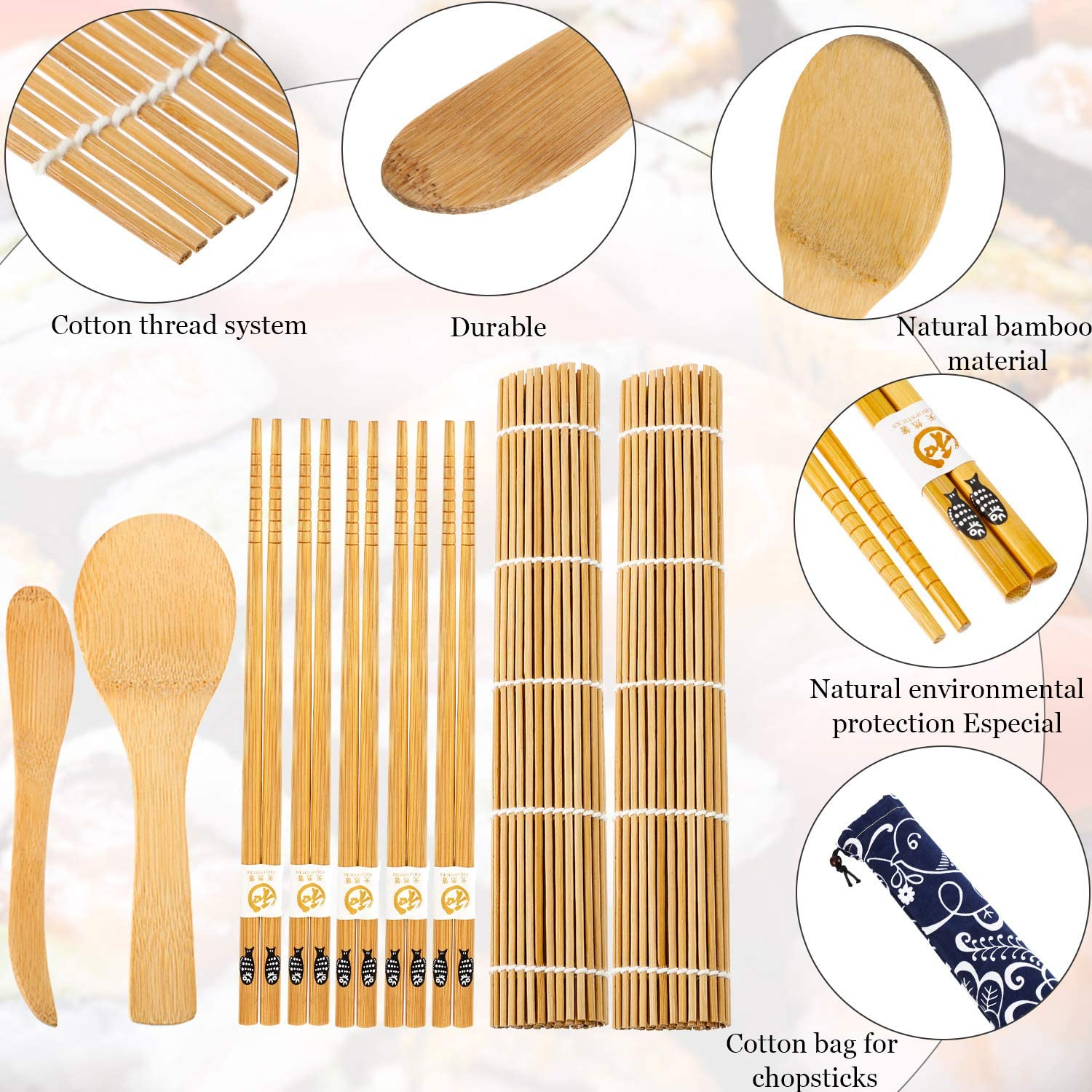 Sushi Making Kit for Beginners Sushi Bazooka Maker DIY Sushi Roller Machine Include Sushi Rolling Pads Mats Bamboo Chopsticks Rice Paddle Rice Spreader and Cotton Bag Set of 11