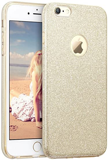 3d7a5e99c2 iPhone 6s Case, Imikoko™ Fashion Luxury Protective Hybrid Beauty Crystal  Rhinestone Sparkle Glitter Hard Diamond Case Cover for iPhone 6s/6 (Gold-3  Layer)