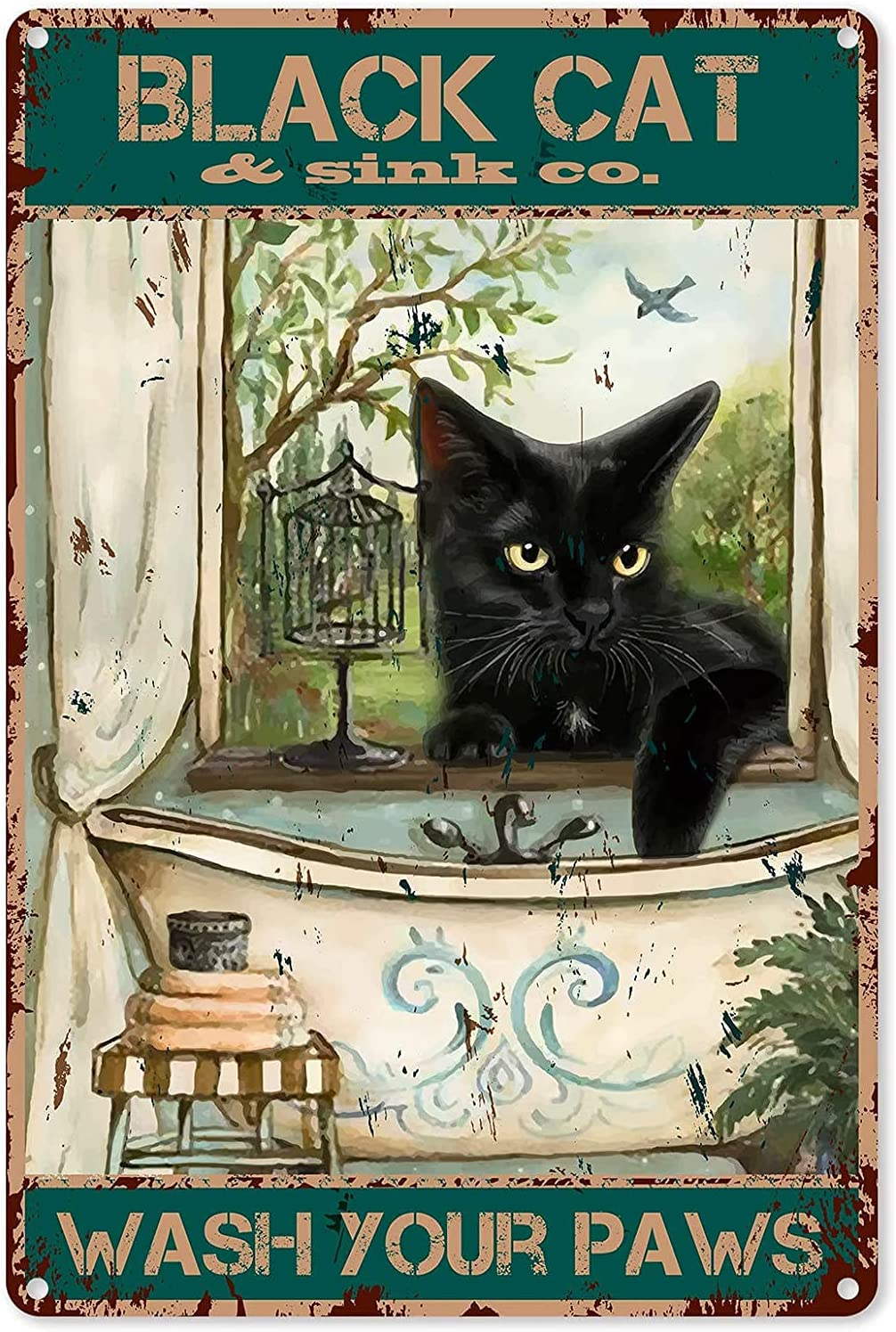 GadgetsTalk Funny Bathroom Quote Metal Tin Sign Wall Decor - Vintage Black Cat Wash Your Paws Tin Sign for Office/Home/Classroom Bathroom Decor Gifts - 8x12 Inch