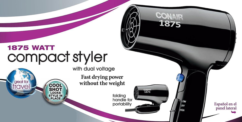 amazon com conair 1875 watt compact folding handle styler hair amazon com conair 1875 watt compact folding handle styler hair dryer dual voltage grey beauty