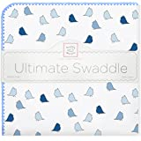 SwaddleDesigns Ultimate Swaddle Blanket, Made in USA, Premium Cotton Flannel, Bright Blue Jewel Tone Little Chickies