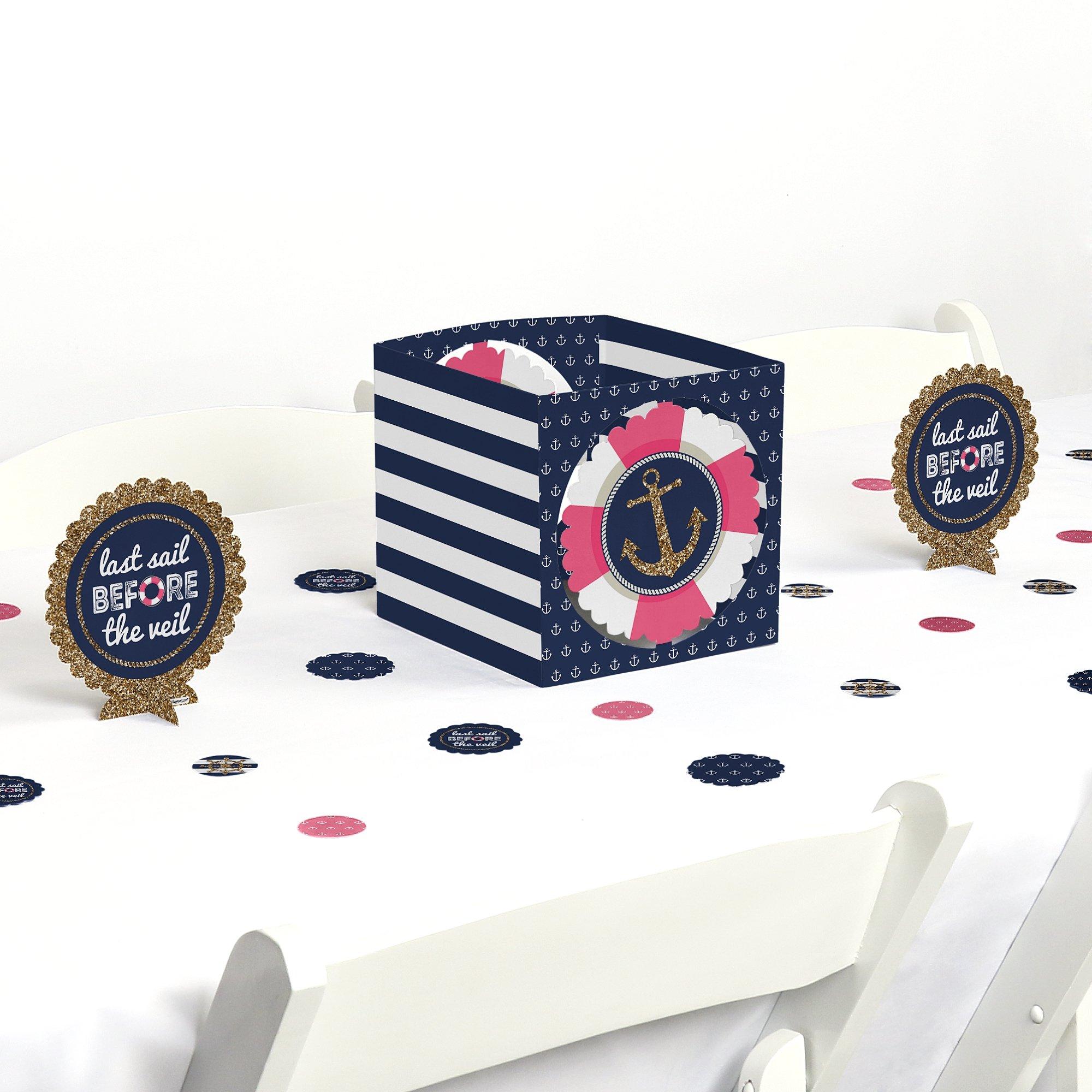 Big Dot of Happiness Last Sail Before The Veil - Nautical Bridal Shower & Bachelorette Party Centerpiece & Table Decoration Kit