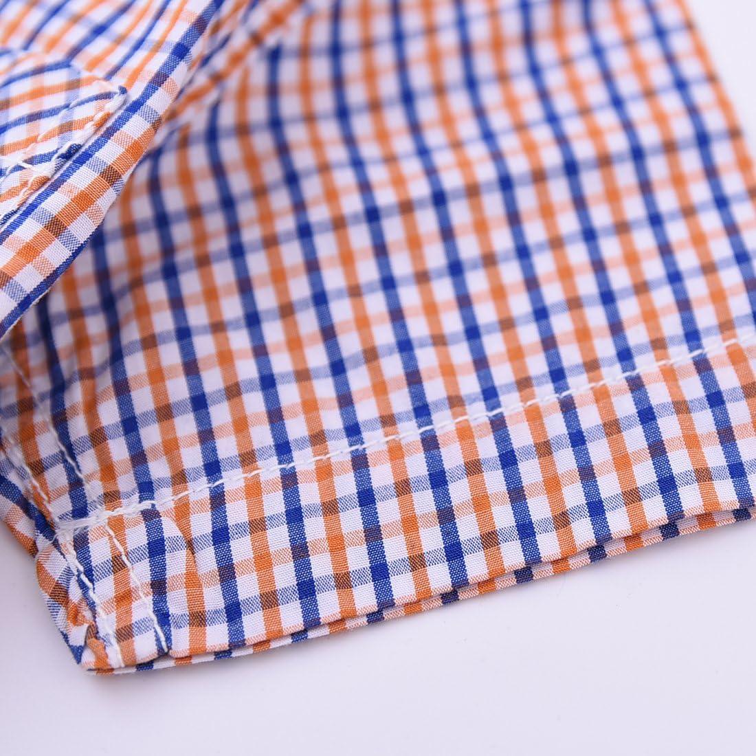 MOMOLAND Baby Boys Plaid Woven Shirt Short Sleeve Orange